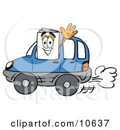 Clipart Picture Of A Paper Mascot Cartoon Character Driving A Blue Car And Waving
