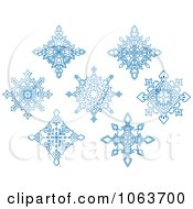 Clipart Snowflakes In Blue Digital Collage 8 Royalty Free Vector Illustration