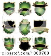Clipart Blank Green Labels Digital Collage 4 Royalty Free Vector Illustration