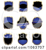 Clipart Blank Blue Labels Digital Collage 1 Royalty Free Vector Illustration