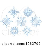 Clipart Snowflakes In Blue Digital Collage 10 Royalty Free Vector Illustration