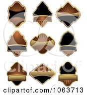 Clipart Blank Gold And Black Labels Digital Collage 6 Royalty Free Vector Illustration