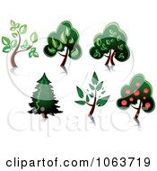 Clipart Trees Digital Collage 7 Royalty Free Vector Illustration