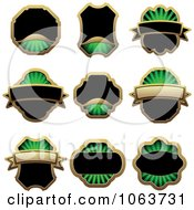 Clipart Blank Green Labels Digital Collage 6 Royalty Free Vector Illustration