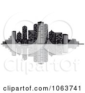 Clipart Waterfront City Skyline 2 Royalty Free Vector Illustration