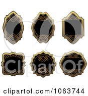 Clipart Blank Gold And Black Labels Digital Collage 10 Royalty Free Vector Illustration