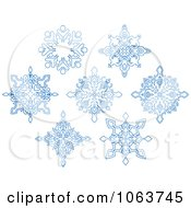 Clipart Snowflakes In Blue Digital Collage 9 Royalty Free Vector Illustration