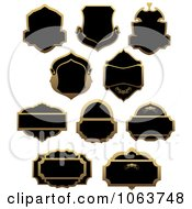 Clipart Blank Gold And Black Labels Digital Collage 4 Royalty Free Vector Illustration