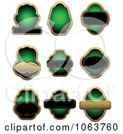 Clipart Blank Green Labels Digital Collage 5 Royalty Free Vector Illustration