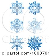 Clipart Snowflakes In Blue Digital Collage 4 Royalty Free Vector Illustration