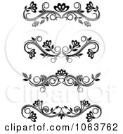 Clipart Black And White Flourish Borders Digital Collage 3 Royalty Free Vector Illustration