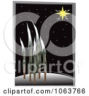 Clipart The North Star Over A Forest At Night Royalty Free Vector Illustration by mheld