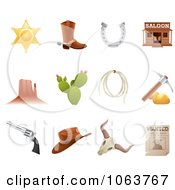 Clipart Wild Western Icons Digital Collage Royalty Free Vector Illustration