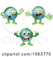Clipart Happy Globes Digital Collage Royalty Free Vector Illustration