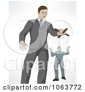 Clipart Boss Controlling An Employee On Puppet Strings Royalty Free Vector Illustration