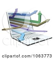 Clipart 3d Laptop With Arrows Royalty Free Vector Illustration