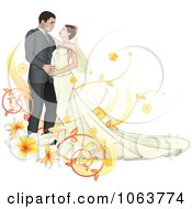 Clipart Bride And Groom Dancing With Plumerias Royalty Free Vector Illustration