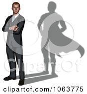Clipart 3d Businessman With A Super Hero Shadow Royalty Free Vector Illustration