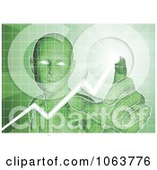 Clipart Green Virtual Man Pushing Buttons On An Interface Royalty Free Vector Illustration