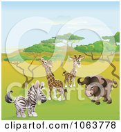 Clipart Safari Animals On The Plains Royalty Free Vector Illustration