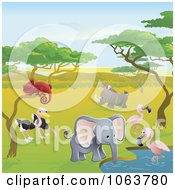 Clipart Safari Animals At A Watering Hole Royalty Free Vector Illustration by AtStockIllustration