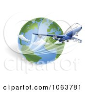 Clipart 3d International Flight And Globe Royalty Free Vector Illustration