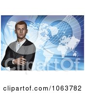 Clipart 3d Businessman And World Atlas On Blue Royalty Free Vector Illustration