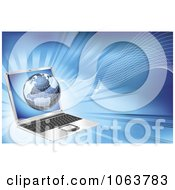 Clipart 3d Globe And Waves Over A Laptop Royalty Free Vector Illustration