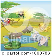 Clipart Safari Animals In A Watering Hole Royalty Free Vector Illustration