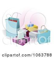 Clipart Group Of 3d Shopping Boxes And Bags Royalty Free Vector Illustration by AtStockIllustration
