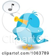Clipart Blue Bird Whistling Royalty Free Vector Illustration by Qiun