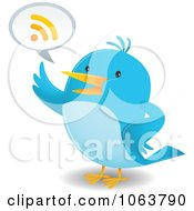 Clipart Blue Bird Talking RSS Royalty Free Vector Illustration by Qiun