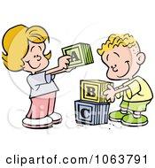 Clipart Children Stacking Letter Blocks Royalty Free Vector Illustration by Johnny Sajem