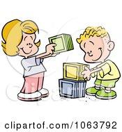 Clipart Children Stacking Blocks Royalty Free Vector Illustration by Johnny Sajem