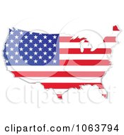 Clipart American Flag Map Royalty Free Vector Illustration