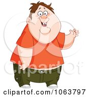 Clipart Waving Chubby Boy Royalty Free Vector Illustration