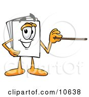 Clipart Picture Of A Paper Mascot Cartoon Character Holding A Pointer Stick