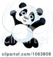 Clipart Happy Panda Jumping Royalty Free Vector Illustration