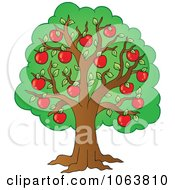 Clipart Red Apple Tree Royalty Free Vector Illustration by visekart