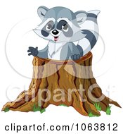 Raccoon In A Tree Stump