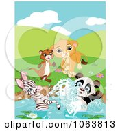 Ferret Lion Zebra And Panda At A Pond