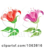 Clipart Lily Flowers Digital Collage Royalty Free Vector Illustration