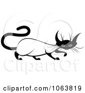 Clipart Evil Siamese Cat Black And White 1 Royalty Free Vector Illustration by Vector Tradition SM