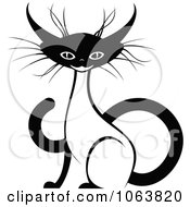 Clipart Sitting Siamese Cat Black And White 4 Royalty Free Vector Illustration