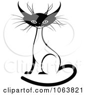 Clipart Sitting Siamese Cat Black And White 3 Royalty Free Vector Illustration
