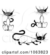 Clipart Siamese Cats Digital Collage 1 Royalty Free Vector Illustration