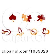 Clipart Maroon And Orange Logos Digital Collage Royalty Free Vector Illustration by Seamartini Graphics