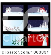 Clipart Christmas Business Cards Backgrounds 1 Royalty Free Vector Illustration by Vector Tradition SM