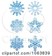 Clipart Snowflakes In Blue Digital Collage 2 Royalty Free Vector Illustration