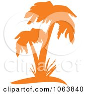 Clipart Orange Palm Tree Logo 3 Royalty Free Vector Illustration by Vector Tradition SM